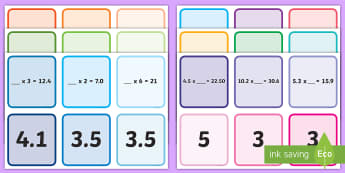 Multiplying Decimals Missing Number Matching Cards - ACMNA129, Multiply Decimal Numbers, Multiply Decimals, Decimal Numbers, Decimal Number Multiplicatio