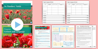 GCSE Poetry: Linking Context and Language Lesson Pack to Support Teaching On 'Poppies' by Jane Weir - semantic field, assessment objective two, aO2, language, analysis, textiles, poppies, rememebrance.