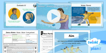 PlanIt PE Year 4 Dance: Water Lesson 1 - Water, Water Everywhere - Dance: Water, PE, physical education, exercise, Y4, year 4, LKS2, key stage 2, planning, plans, powe