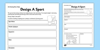 Design a Sport Activity Sheet - design a sport, sport inventor, fact of the day, activity, worksheet