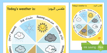 Today's Weather Display Chart Arabic/English  - EAL, Arabic, Weather Display Chart