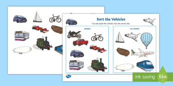 Transport Wheels or No Wheels Sorting Activity - sorting activity