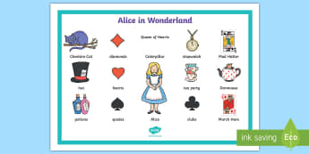 Alice in Wonderland Word Mat - words, literacy, visual aids