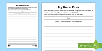 What Rules Do You Have? Activity Sheet - relationships, boundaries, behaviour, families, emotions, worksheet, pshe, seal