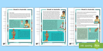 3-6 Diwali Differentiated Reading Comprehension Activity - Australia, Diwali, festival of lights, religion, reading, comprehension, fact file, factsheet,Austra