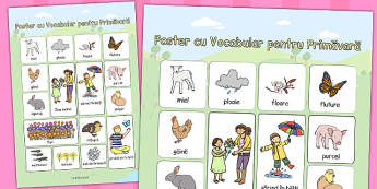 Primăvara - Poster cu imagini și cuvinte - primăvara, decor, planșe, întrebări, imagini, cuvinte, planșe, cuvinte, anotimpuri, anotimp, materiale didactice, română, romana, material, material