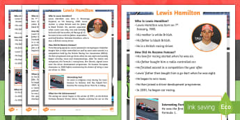 KS1 Lewis Hamilton Differentiated Fact File - Significant Individual, Male, Formula One, Racing Driver, Champion