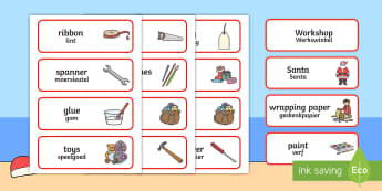 Santa's Workshop Role Play Word Cards Englsih/Afrikaans - christmas, acting, drama, role play, afrikaas, south african, eal, santa, elves