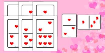 Valentine's Day A4 Heart Dominoes - valentines day, valenines, hearts, hearts dominoes, heart dominoes, large dominoes, big dominoes, big heart dominoes, love heart dominoes, domino, dominos, heart dominos, valentines dominos, activity, game, fun