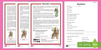 KS2 Navratri Differentiated Reading Comprehension Activity - Durga Puja, Hinduism, Hindus, Festivals and Celebrations, Dasera, celebrate, Diwali, worksheet