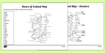 Rivers of Ireland Map Activity Sheet-Irish, worksheet