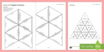 Electricity Triangular Dominoes - Tarsia, Triangular Dominoes, Electricity, Charge, Circuit, Series, Parallel, Wires, Battery, Cell, plenary activity