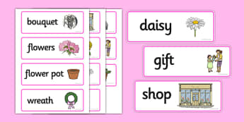Florist Word Cards - Florist Role Play, florist, flower shop, flowers, bouquet, flower decorations, till, money, gifts, role play, display, poster, Word cards, Word Card, flashcard, flashcards,