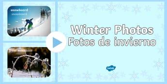 Winter Photo PowerPoint English/Spanish - Winter Photo Powerpoint - powerpoint, interactive, interactive powerpoint, winter powerpoint, winter