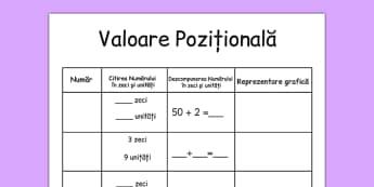 Fișă de lucru - Valoarea pozițională - fișă de lucru, exerciții, valoare pozițională, zeci, unități, sute, fișă de lucru, formarea numerelor, descompunere, formarea numerelor, valori, matematică, numere naturale, romanian, materiale, materiale didact