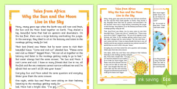 Tales from Africa - Why the Sun and Moon Live in the Sky Story - African Tale, story, sun, moon, water, creation, tradition,