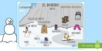 Tapiz de vocabulario: El invierno: El invierno - invierno, invernal, tapiz, tapices, vocabulario, nieve, hielo, escena invernal, escenario, dibujo, p
