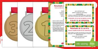 Escena matemática con el elfo navideño: Resultado de la carrera - numeros, problemas matemáticos, navidad, navideño, Spanish