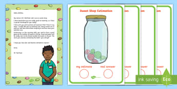 Sweet Shop Estimation Resource Pack - EYFS, Early Years, Estimates How Many Objects They Can See and Checks by Counting Them, Estimation,