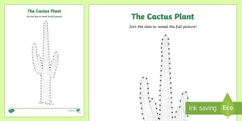 Cactus Plant Dot to Dot Activity Sheet - Science, living World, plants, dot to dot, activity, sheet, UAE, desert plants.