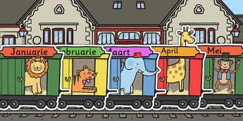 Afrikaans Maande Van Die Jaar Trein - mande, jaar, trein, plakkaat
