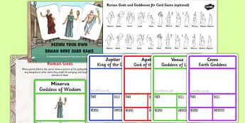 Roman Gods Card Game Task Setter Powerpoint - romans, gods, ppt