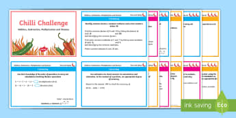 Chilli Challenge Year 6 Calculations Challenge Cards - Addition, Subtraction, Multiplication, Division, BODMAS