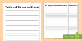 The Story of Diarmuid and Gráinne Writing Frames - Myths, Legends, Irish Tales, The Fianna, Celtic,Irish