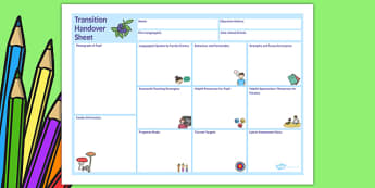 EAL Transition Handover Sheet to a New School - transition, school