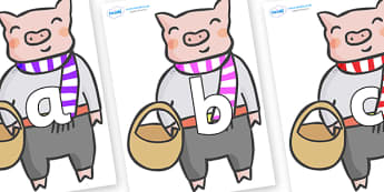 Phoneme Set on Little Piggy - Phoneme set, phonemes, phoneme, Letters and Sounds, DfES, display, Phase 1, Phase 2, Phase 3, Phase 5, Foundation, Literacy