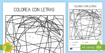 Colorea con letras: La letra L Colour by Number - juego lectoescritura, juego lecto, juego didáctico, lecto, leer, lectura, sonidos, lecto-escritura,