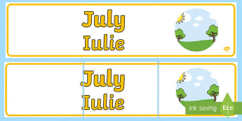 July Display Banner English/Romanian - July Display Banner - july, display banner, display, banner, months, year, EAL,Romanian-translation