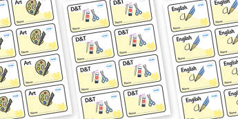 Yellow Themed Editable Book Labels - Themed Book label, label, subject labels, exercise book, workbook labels, textbook labels
