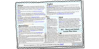 David and Goliath Lesson Plan Ideas KS1 - david, goliath, KS1