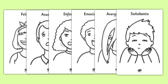 Our Emotions Colouring Sheets Spanish-Spanish
