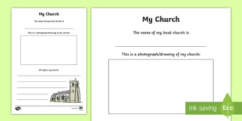 My Church Write Up Activity Sheet - Confession & First Communion Resources, my church, religion, re, RE, R.E, R-E,