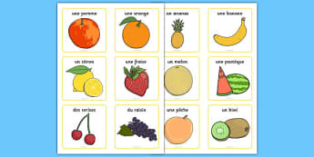 Fruit Vocabulary Cards Small - french, fruit, vocabulary cards, vocabulary, cards