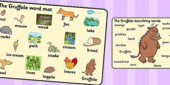The Gruffalo Word Mat (Images) - The Gruffalo, resources, mouse, fox, owl, snake, Gruffalo, fantasy, rhyme, story, story book, story book resources, story sequencing, story resources, word mat, writing aid