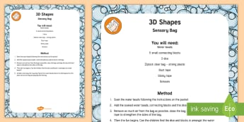 3D Shapes Sensory Bag - sensory play, cube, cuboid, sphere, water beads