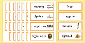 Ancient Egyptian Word Cards - Ancient Egyptian, history, Egyptians, word card, flashcards, cards, Egypt, pyramids, Pharaoh, hierogliphics, hieroglyphs, Tutankhamun, Giza, Dahshur, Mummy