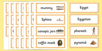 Ancient Egyptian Word Cards - Ancient Egyptian, history, Egyptians, word card, flashcards, cards, Egypt, pyramids, Pharaoh, hierogliphics, hieroglyphs, Tutankhamun, Giza, Dahshur, Mummy
