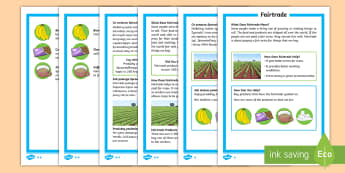Fairtrade Differentiated Fact File English/Polish - KS1 Comprehensions, fairtrade, fair trade, equal trade, international, farmers, cocoa, bananas, tea,