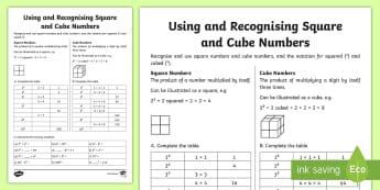 Using and Recognising Square and Cube Numbers Activity Sheet - A useful activity sheet for reinforcing knowledge of square and cube numbers and using the correct n