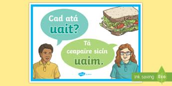 Cad atá uait? - What do you want? A4 Display Poster Gaeilge  - Bia, Biachlár, cad, atá, uait, bialann,Irish