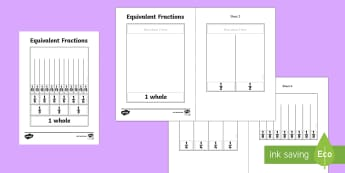 Equivalent Fractions Visual Aid - equivalent, fractions, visual, Fraction, equivalent, whole, third, sixth, twelfth