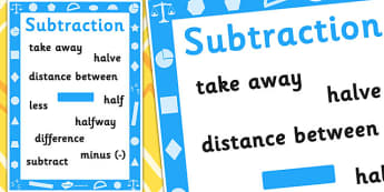 Early Grades Subtraction Vocabulary Poster - Maths, Subtract, Poster