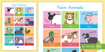 Poster : Les animaux de la ferme - Anglais LV - ferme, farm, vache, cow, cochon, pig, poule, chicken, canard, duck, old mac donald, chanson, song, comptine, cycle 1, cycle 2, anglais, langue vivante