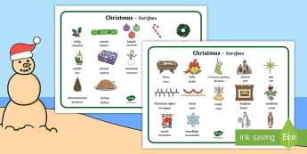 Christmas Word Mat English/Afrikaans - December, celebration, Jesus, Bethlehem, Desember, fees, EAL