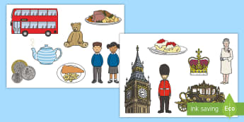 English Themed Cut-Outs - English Themed Cut-Outs - English, England, UK, cut outs, country, geography, georgraphy,queen, lond