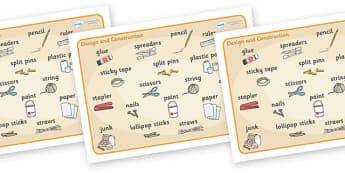 Design and Construction Word Mat - design and construction, design, construction, word mat, mat, writing aid, sticky tape, stapler, scissors, glue, spreaders, pencil, ruler, hammer, brushes, paper, paint, cardbord